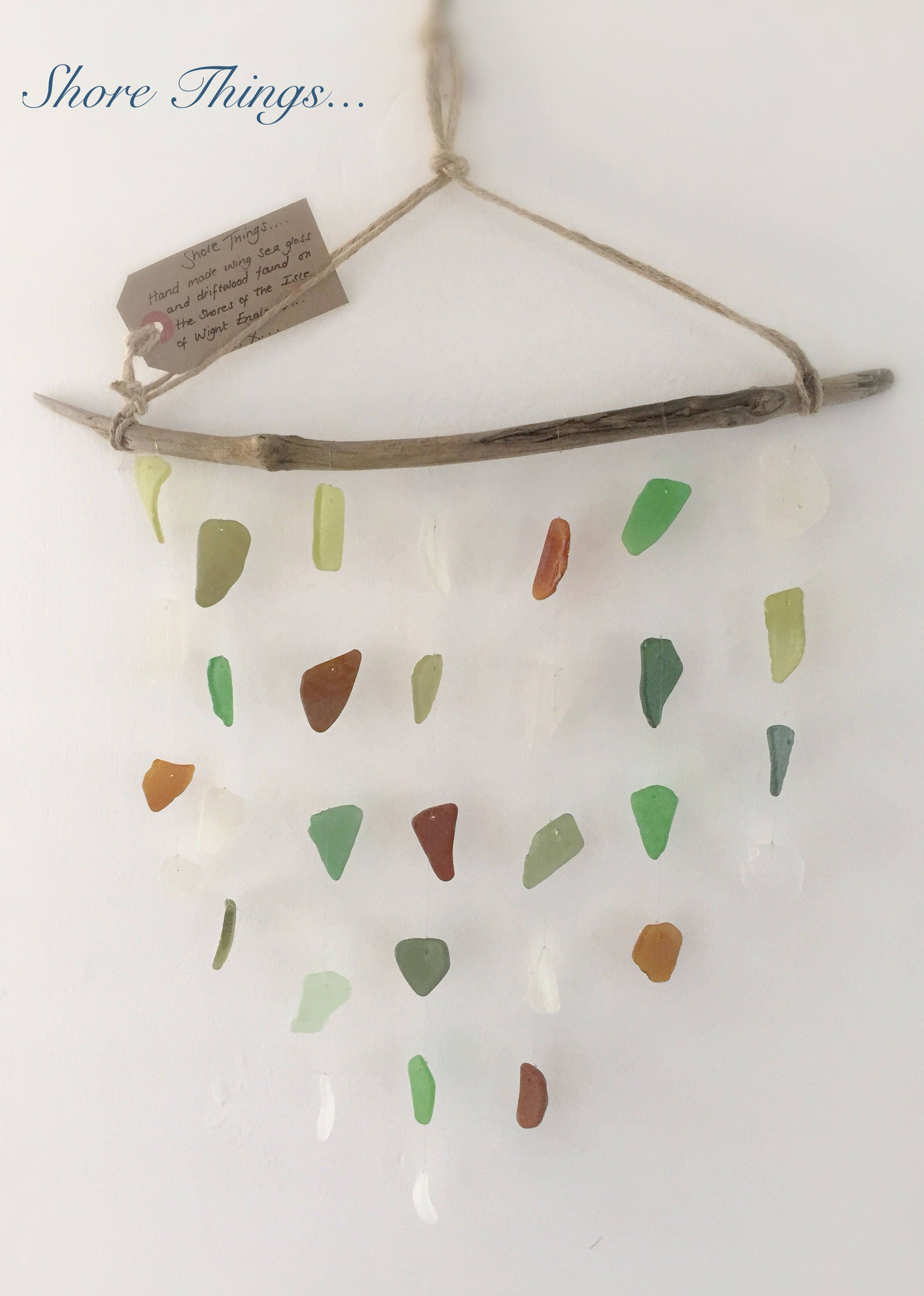 Wind Chime Sea Glass Sun Catcher Nautical Decor Beach Home Isle of Wight Driftwood