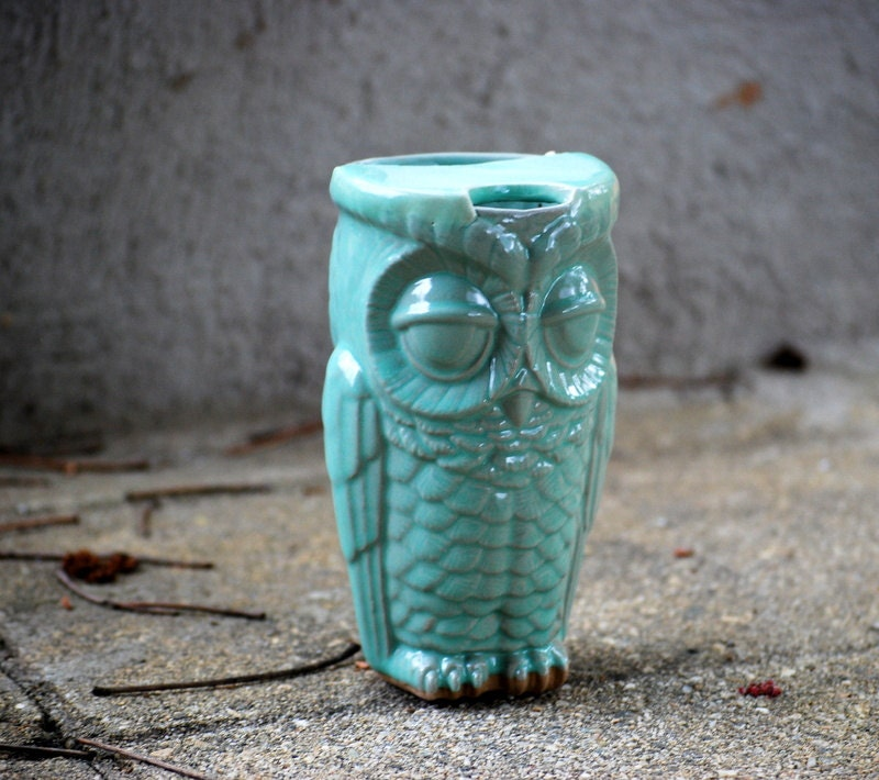 Mint Eco friendly owl travel mug - made to order - claylicious