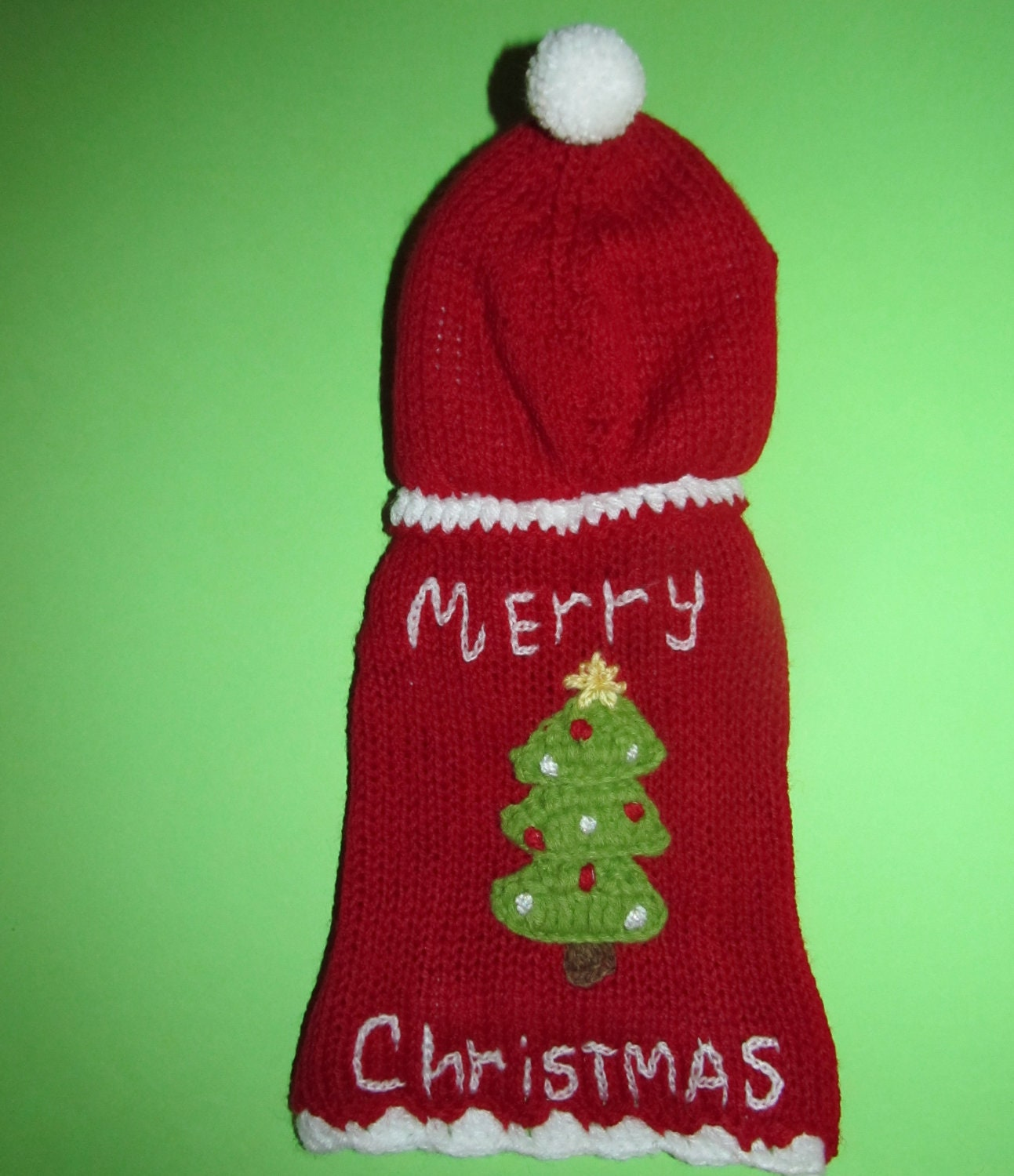Christmas dog sweater knitted dog jumper puppy by ADogFashion