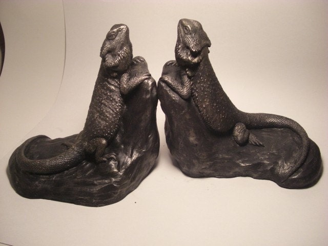 Bearded dragon bookends by jasonshanamanart on etsy - Dragon bookend ...