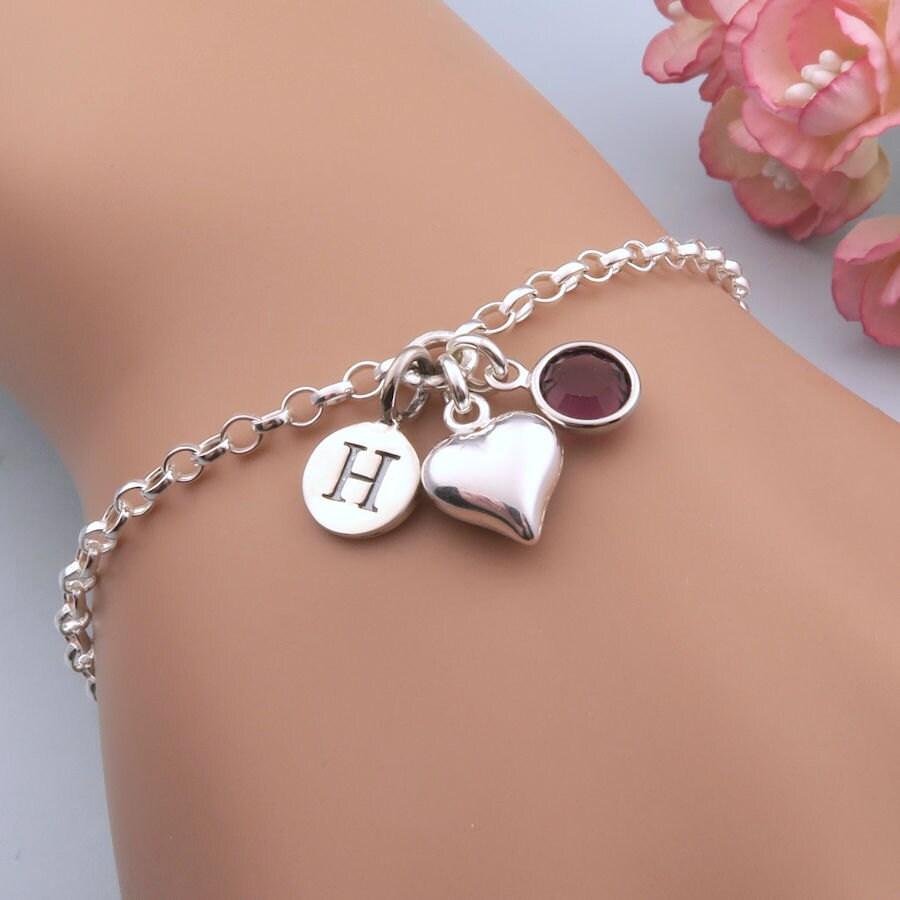 Heart Bracelet Personalized Bracelet Silver Heart Valentines Gift Gift For Girlfriend Love Bracelet Initial Bracelet Love Heart