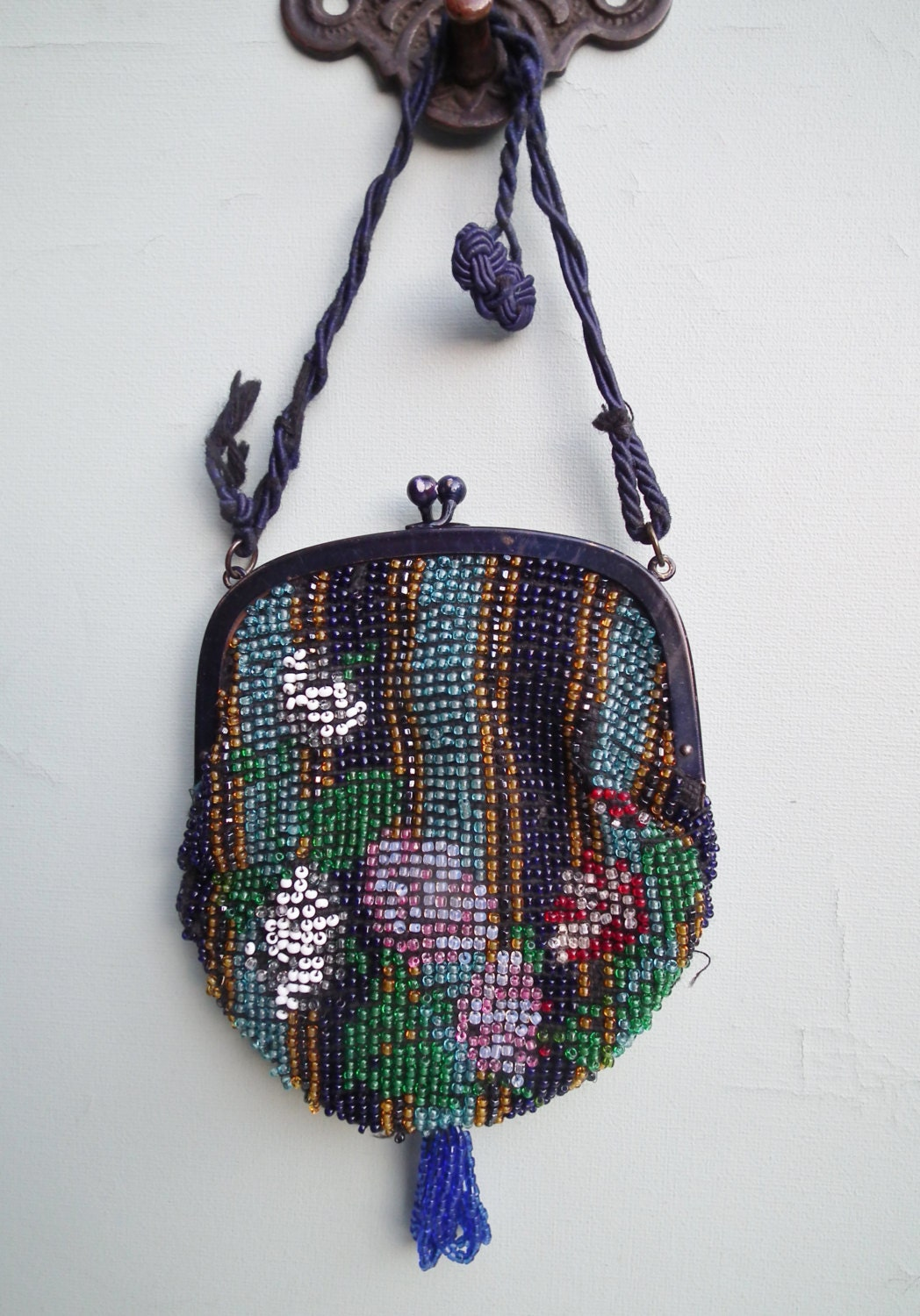vintage 1920s small purse beaded bag handbag by somuchfrippery