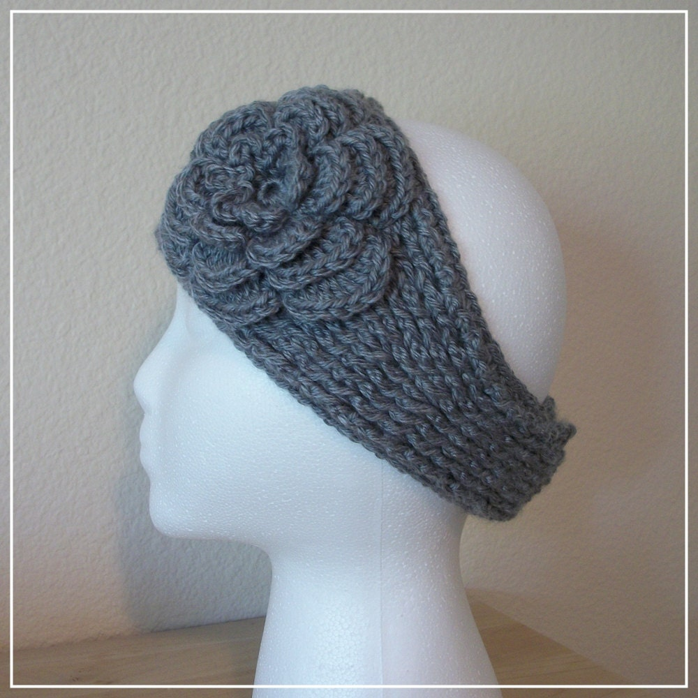 Crochet Patterns Headband Ear Warmer : PDF Crochet PATTERN: Knit-Look Headband/Ear Warmer w/Irish Rose