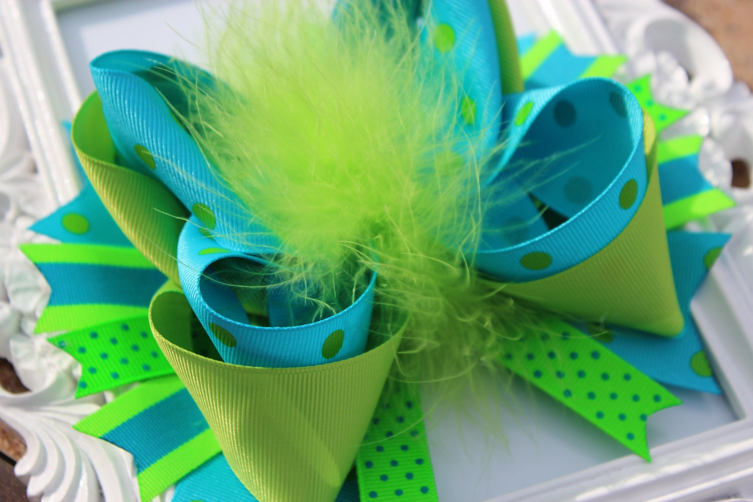 Over the Top Blue and Green Feather Hair Bow - Great for SPRING and SUMMER - - SewAdorableBowtique