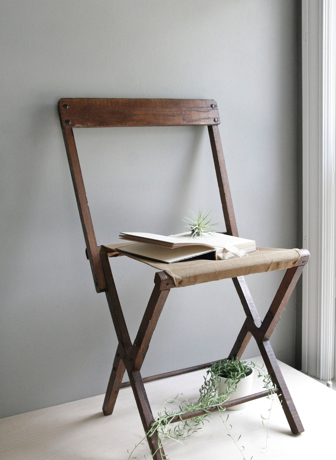antique canvas folding chair by ohalbatross on Etsy