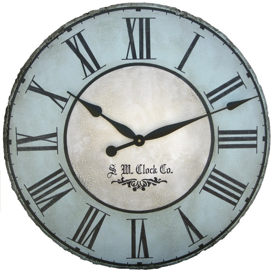 36 inch north haven large wall clock antique style big roman blue