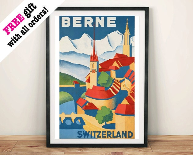BERNE SWITZERLAND POSTER Vintage Swiss Travel Advert Art Print Wall Hanging