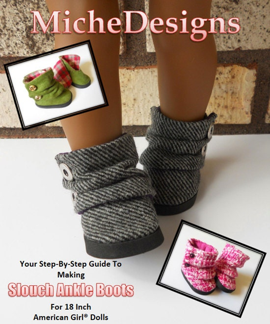 doll shoe pattern slouch ankle boots for american girl dolls   pdf