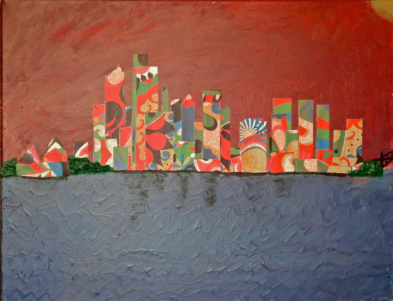 Sydney, Australia Skyline Collage on 14x18 Canvas, City Skyline Collage - JustPlainLiz