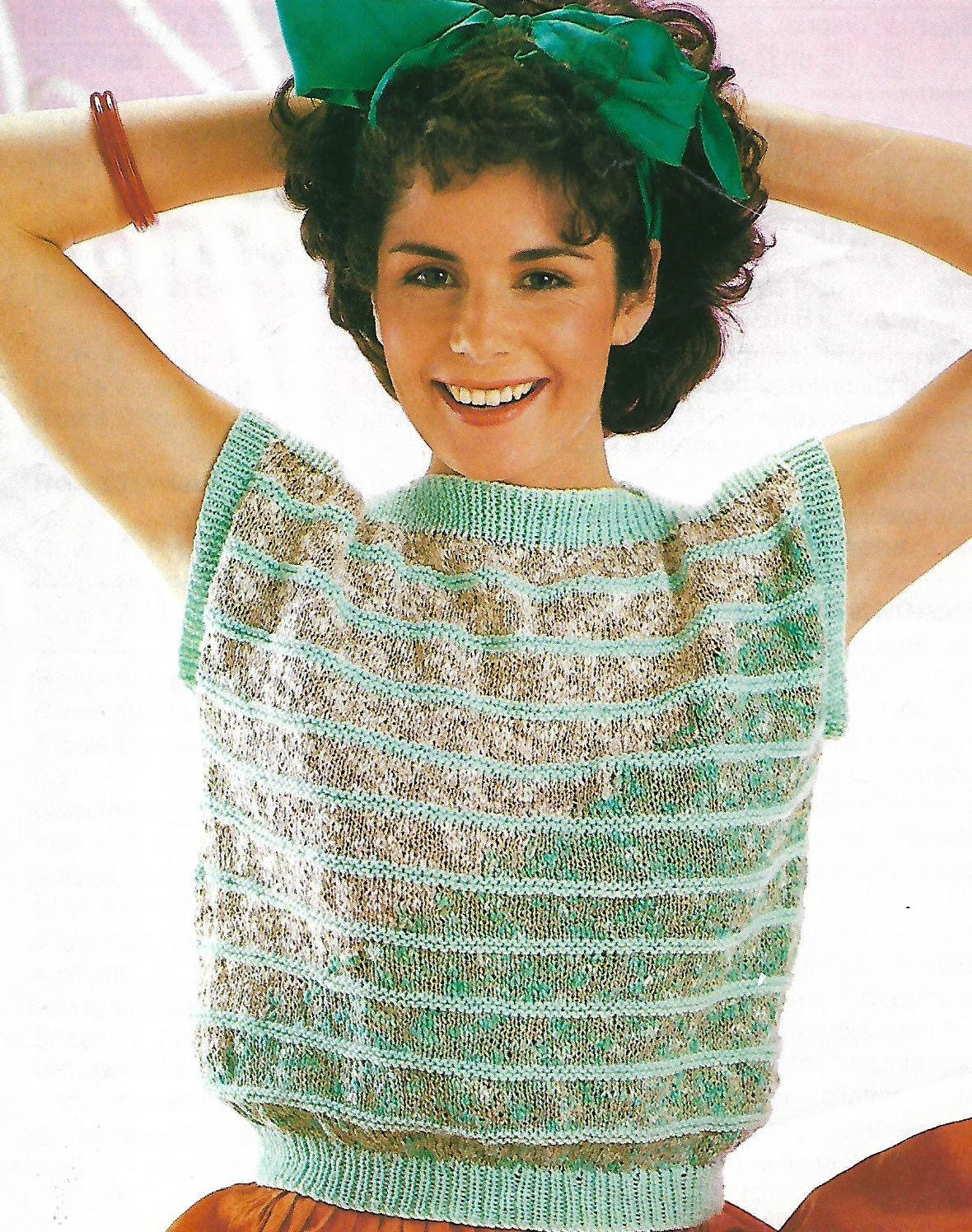 knitting pattern womens ladies top easy knit sizes 30 to 40 inch double knitting pdf