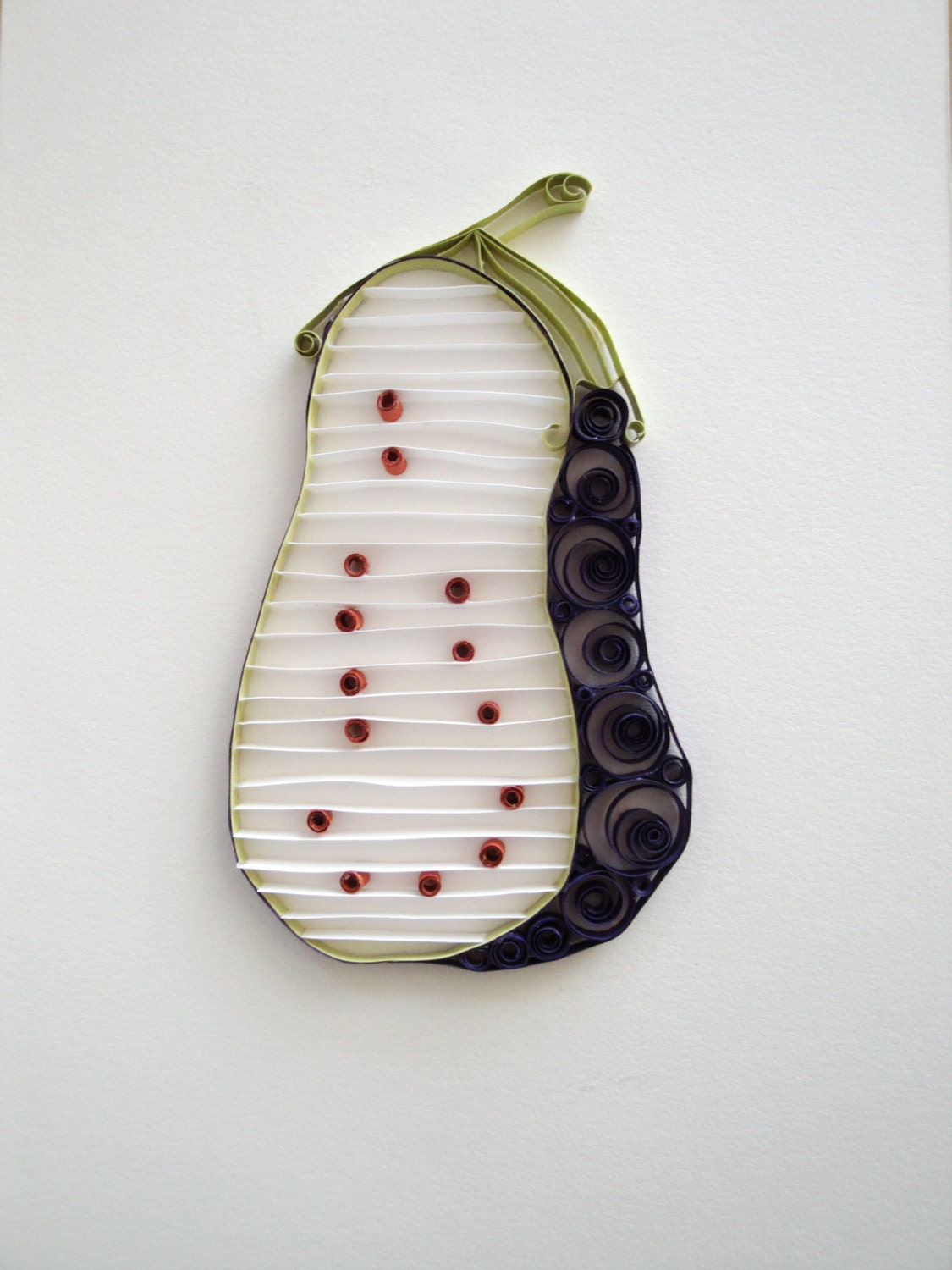 Quilled paper eggplant home decor wall decor by for Quilling home decor