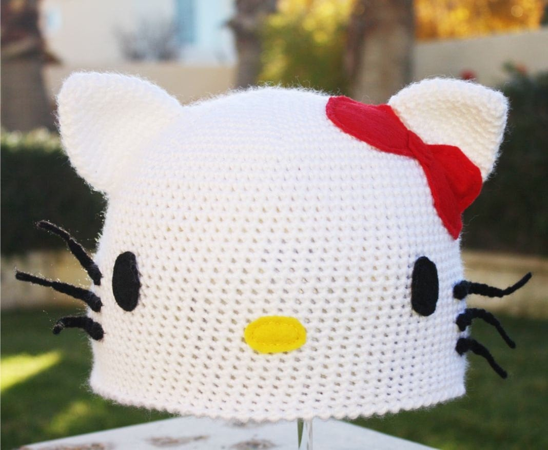 Hello Kitty -ish Hat : Kawaii Sanrio Anime Japanese- ish Handmade Crochet Beanie Hat