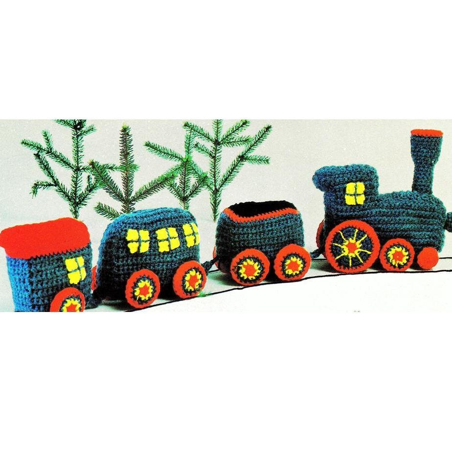 Knitting Pattern For Toy Train : INSTANT DOWNLOAD PDF Vintage Crochet by PastPerfectPatterns