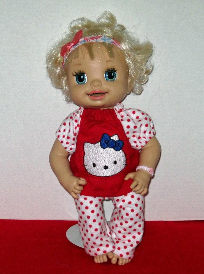 baby alive hello kitty red and white pajamas doll clothes made in usa