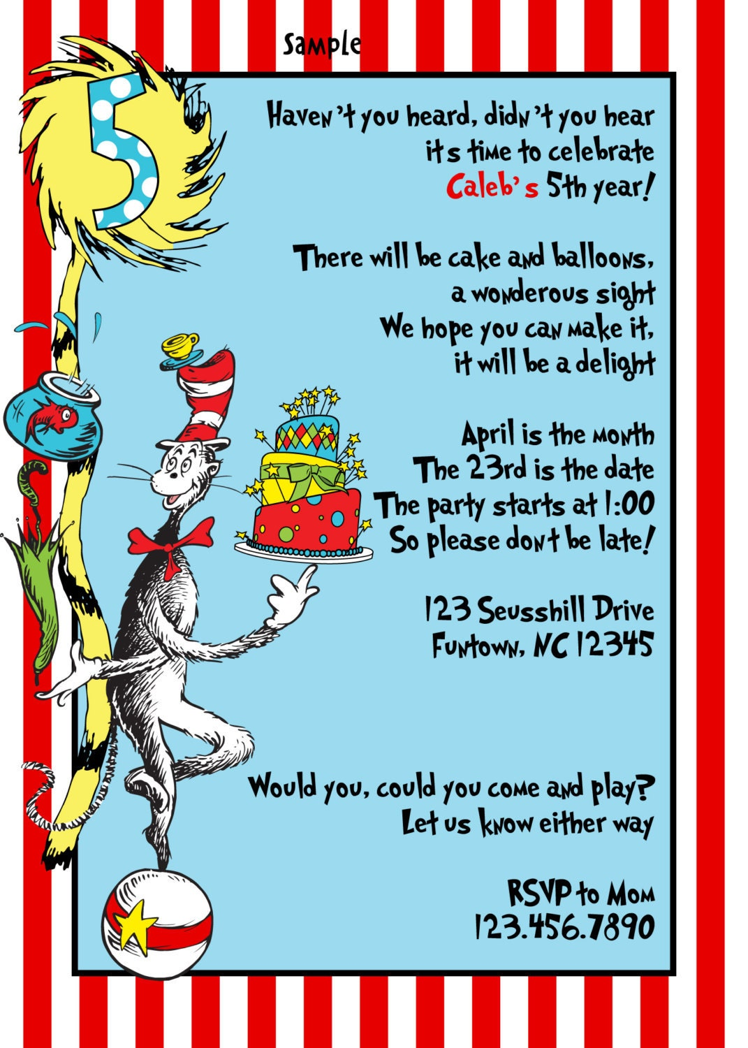 dr seuss birthday card template - items similar to dr seuss birthday party invitations baby