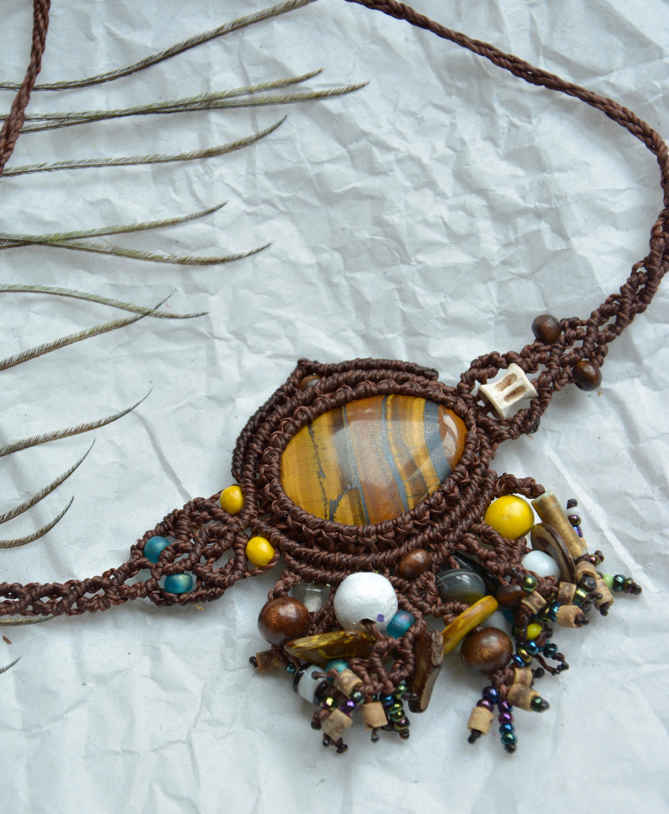 TIGERS EYE Macrame Necklace with Beads and Fish Bones Boho Tribal Handmade Hippie Jewellery Cabochon Necklace