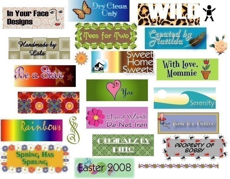Custom fabric craft labels now uncut sheets at a by for Business name ideas for crafts