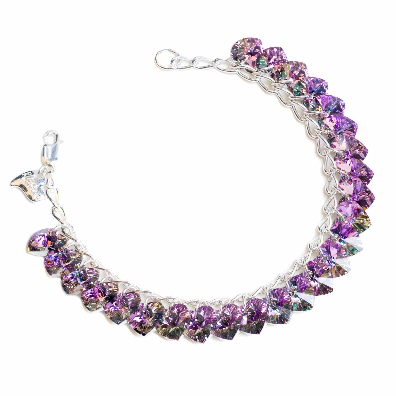Light Vitrail Heart to Heart Sterling Silver  SWAROVSKI crystal Charm Bracelet