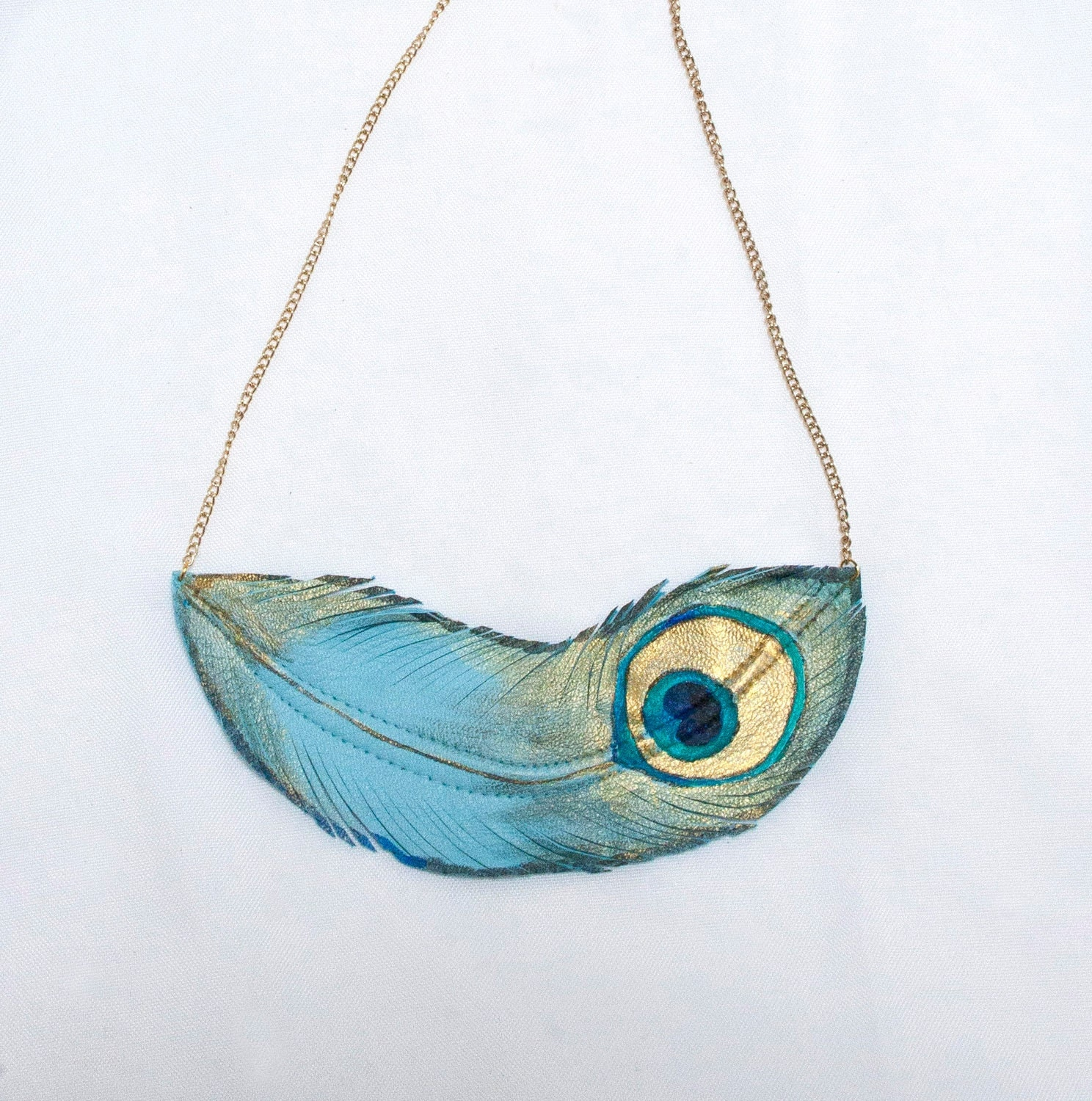PEACOCK Feather. Handpainted Leather Feather Necklace. Free shipping worldwide - TZain