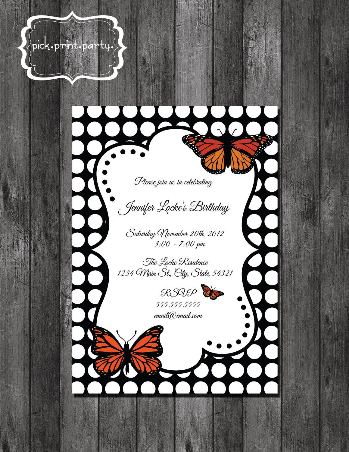 Birthday Party Invitation Butterfly - Polka Dot - DIY - Printable