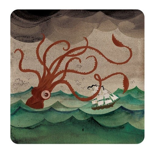 Giant Squid art watercolor print by danbobthompson on Etsy