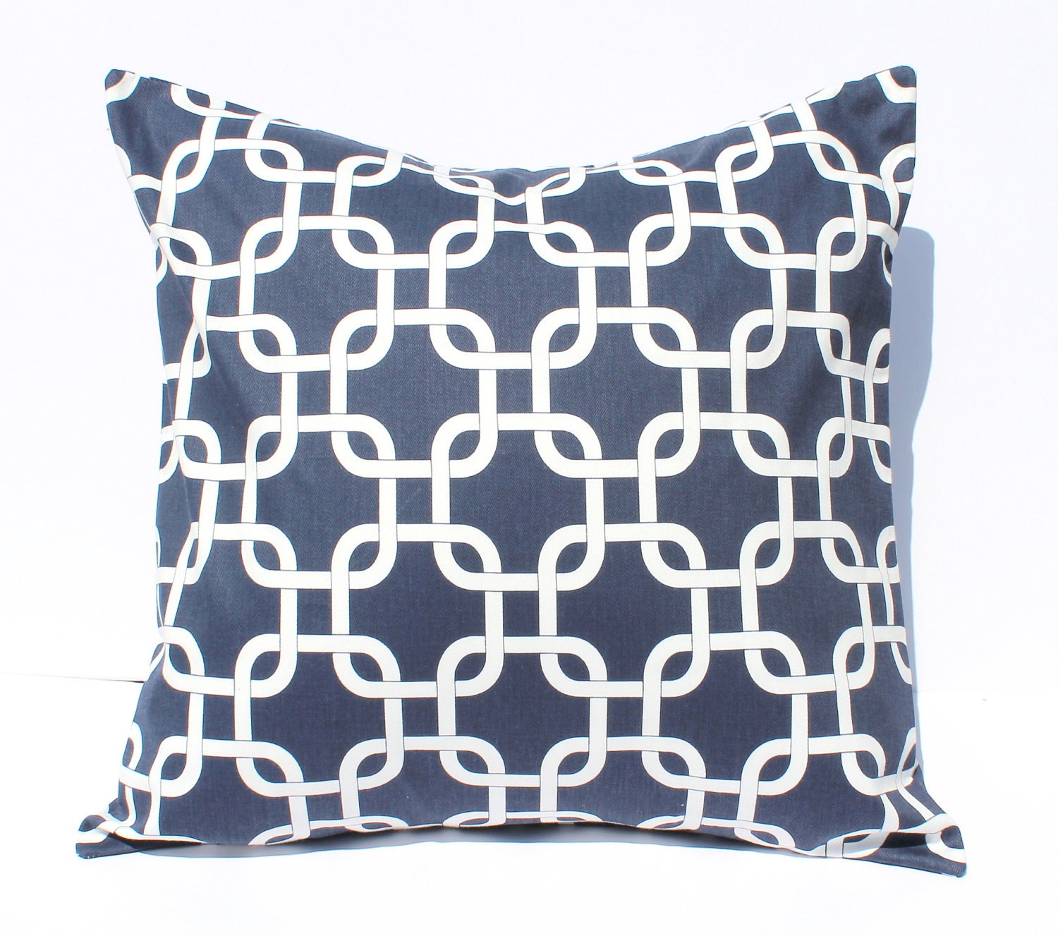 2 Decorative Pillows Covers - Navy Blue Geometric Links . 18 x 18 Cushions - SewGracious
