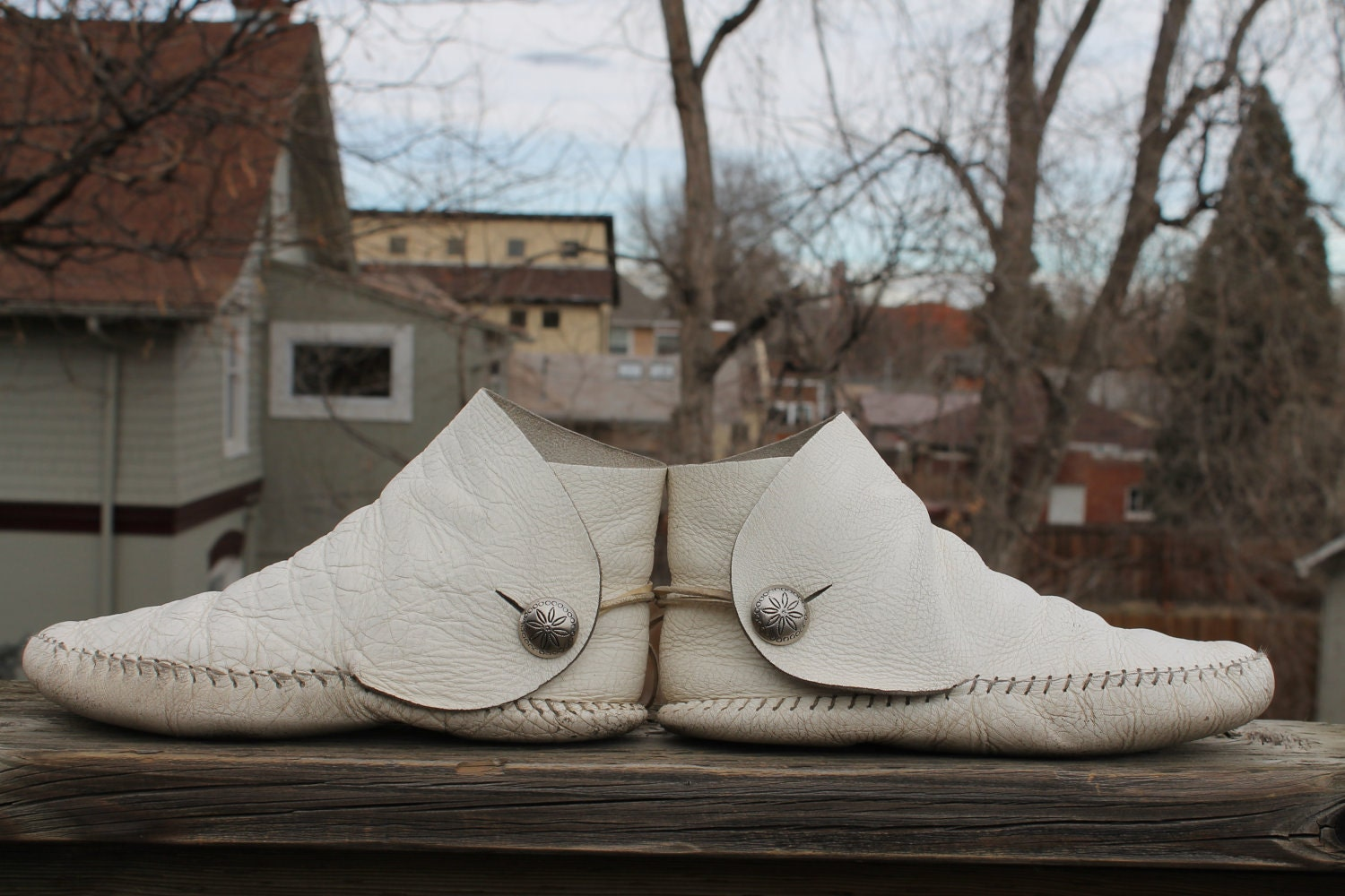 Vtg Leather Womens Moccasins Summer White Short Boots By