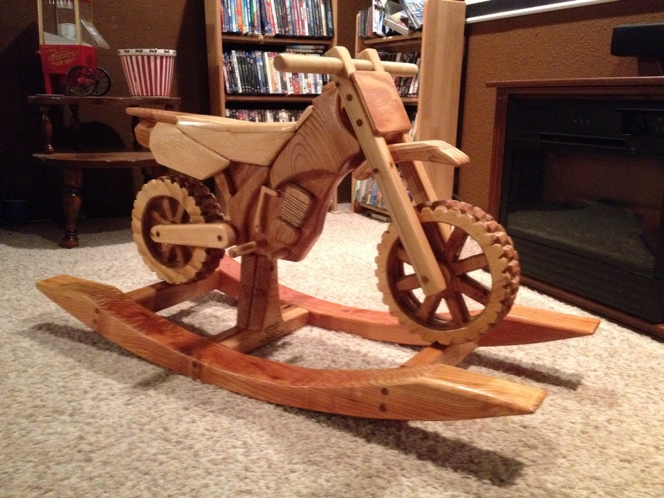 Unavailable listing on etsy for Woodworking plan for motorcycle rocker toy