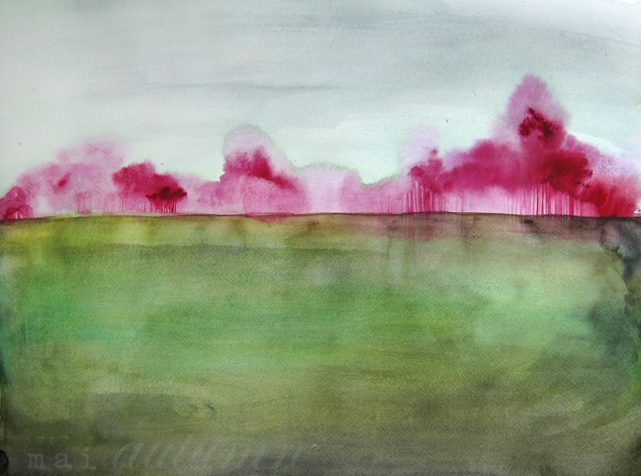 40% Off Sale - Watercolor Painting - Trees in Art - Landscape Painting Print - Grace - 8x10 Giclee Print - Country Field Magenta Green Blue