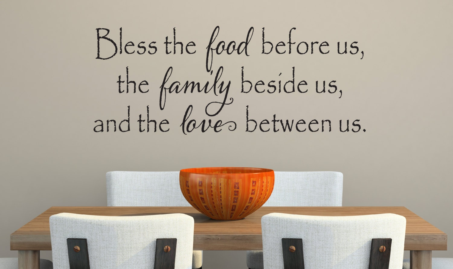 Bless the food before us wall decal kitchen by for Kitchen quote decals