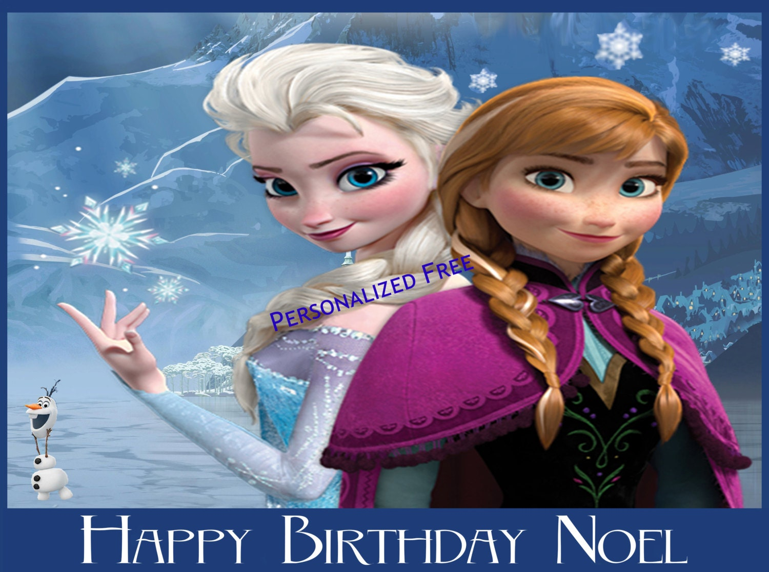Disney frozen birthday party cake topper decoration edible image
