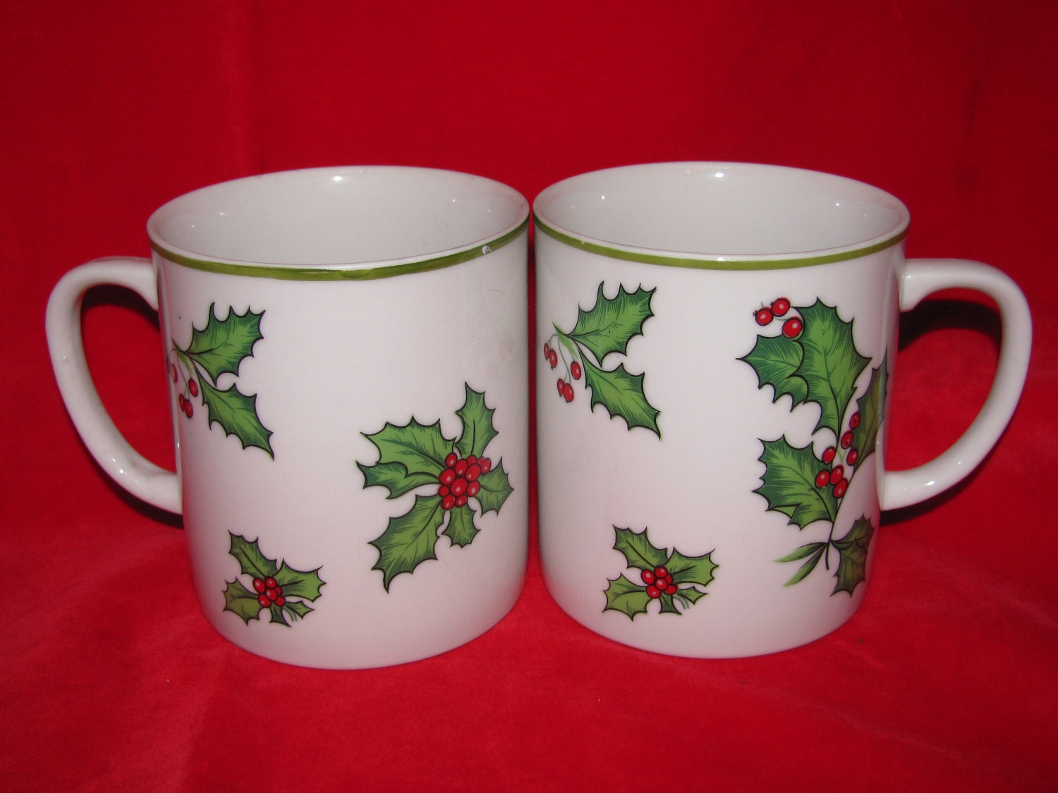 Mugs, 2 Egg Nog Mugs, Porcelain Made in Japan, Festive Coffee Mugs