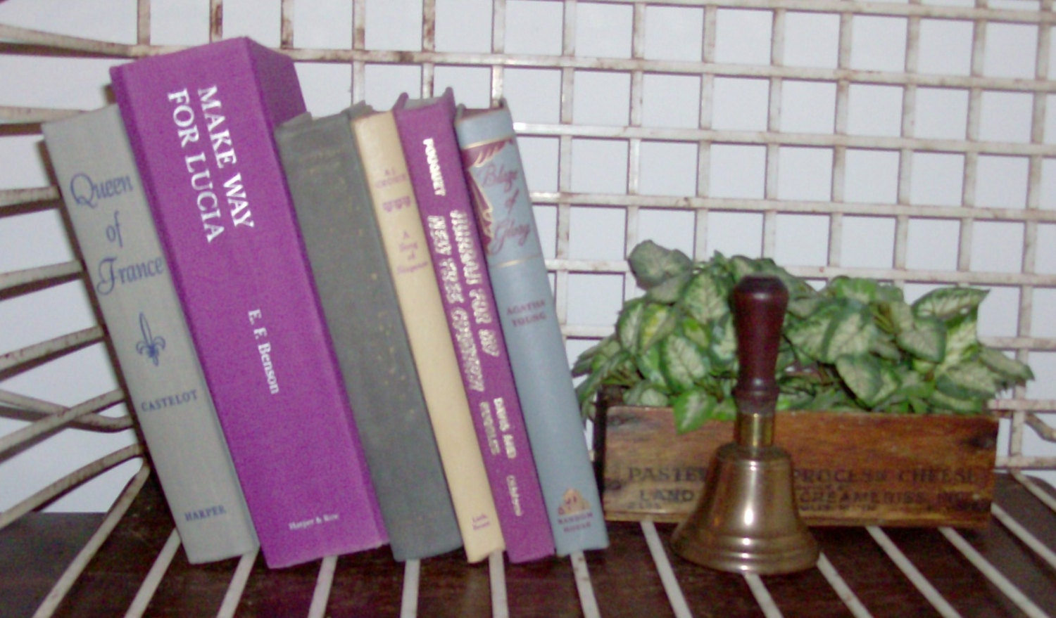Instant Collection of 6 Orchid and Gray Vintage and Antique Books - fromlosttofound