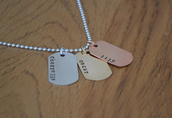 Mens Jewellery Jewelry Necklace Hand Stamped Military Dog Tags Personalised Name Dad Fathers Day Gift