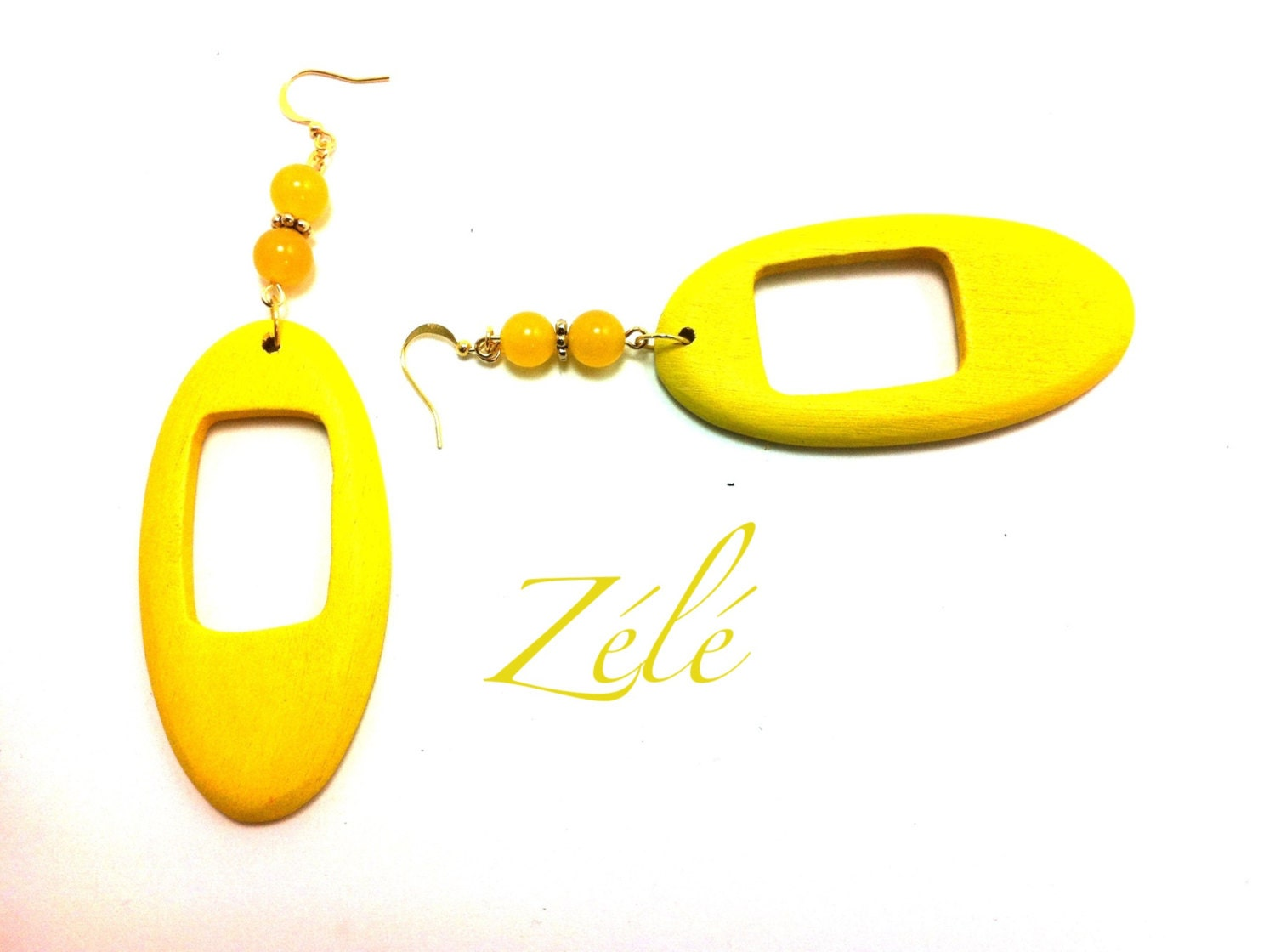 Sunshine Yellow Wood Earrings