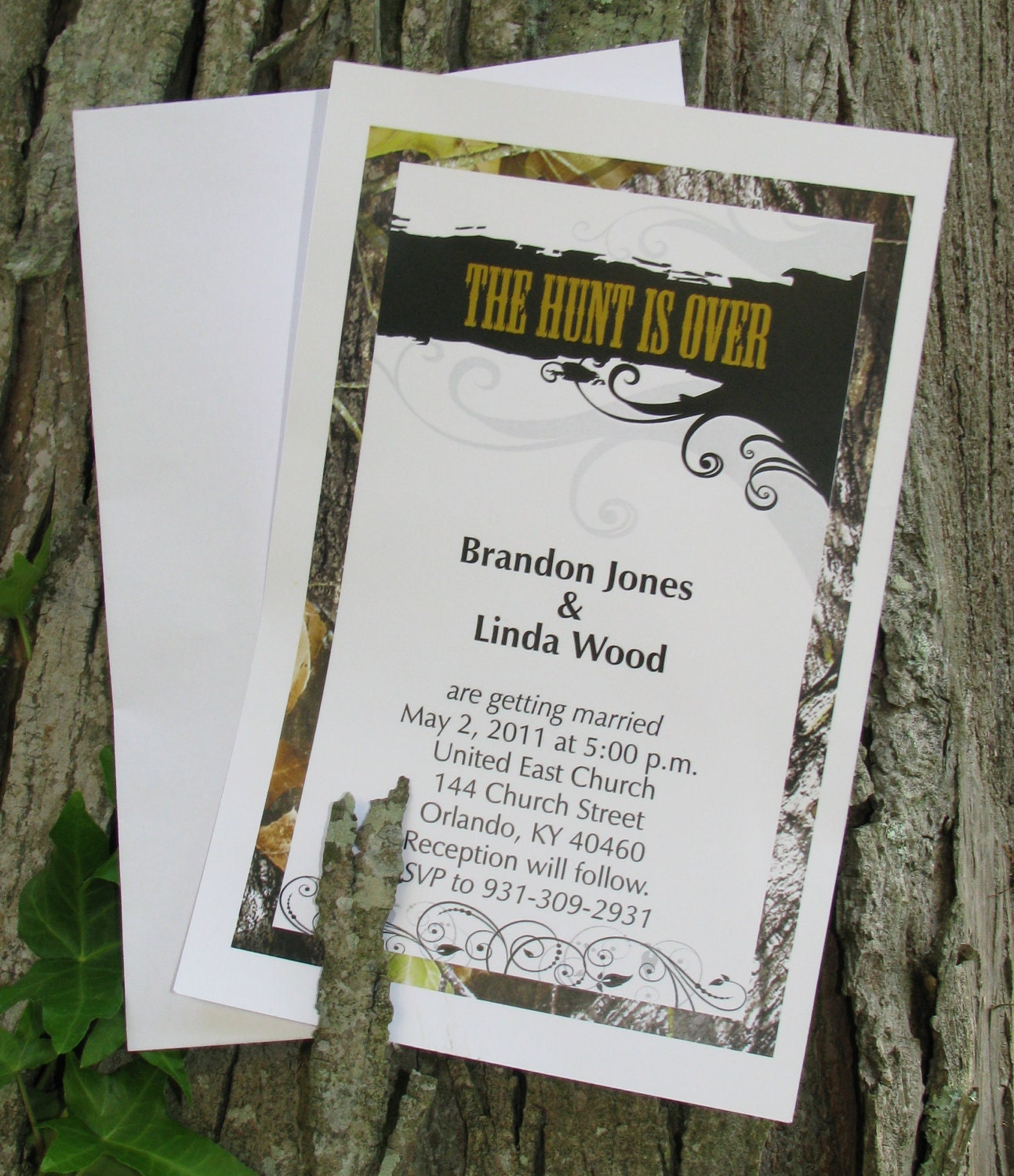 50 mossy camo the hunt is over wedding invitations by camodesigner