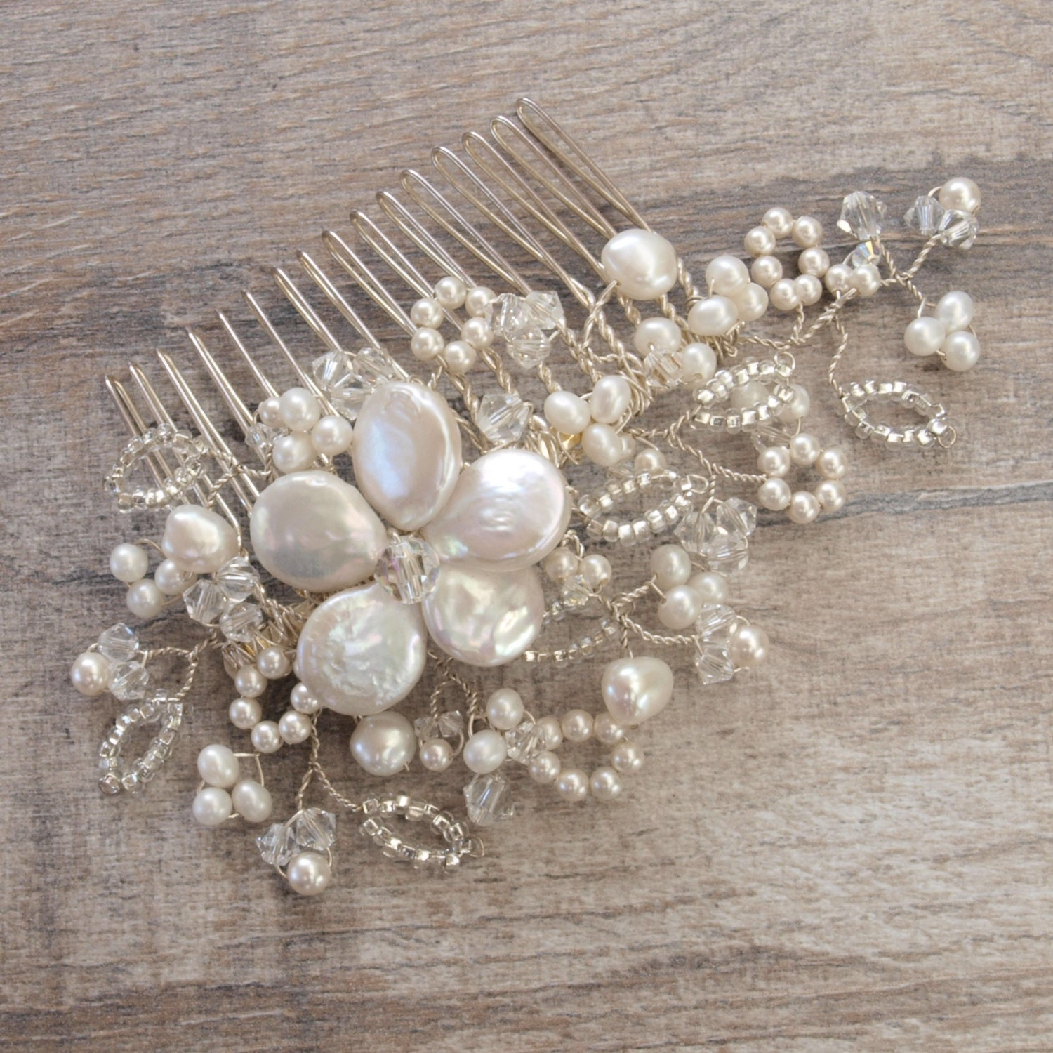 Antique Lace Hair Comb Floral Headpiece Lace Inspired Bridal Headdress Ivory Pearl Clear Crystal