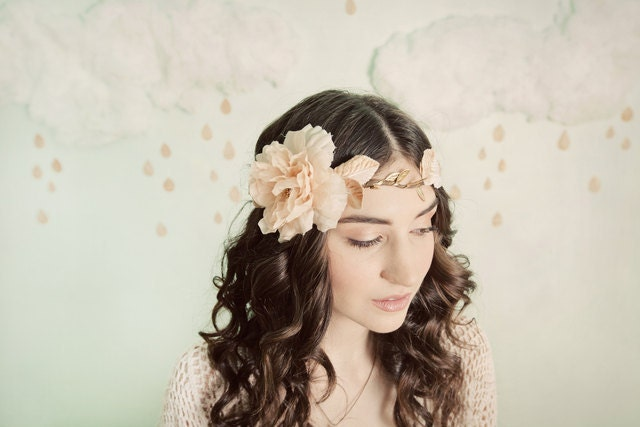 Golden flowers and vines crown/halo- style 302