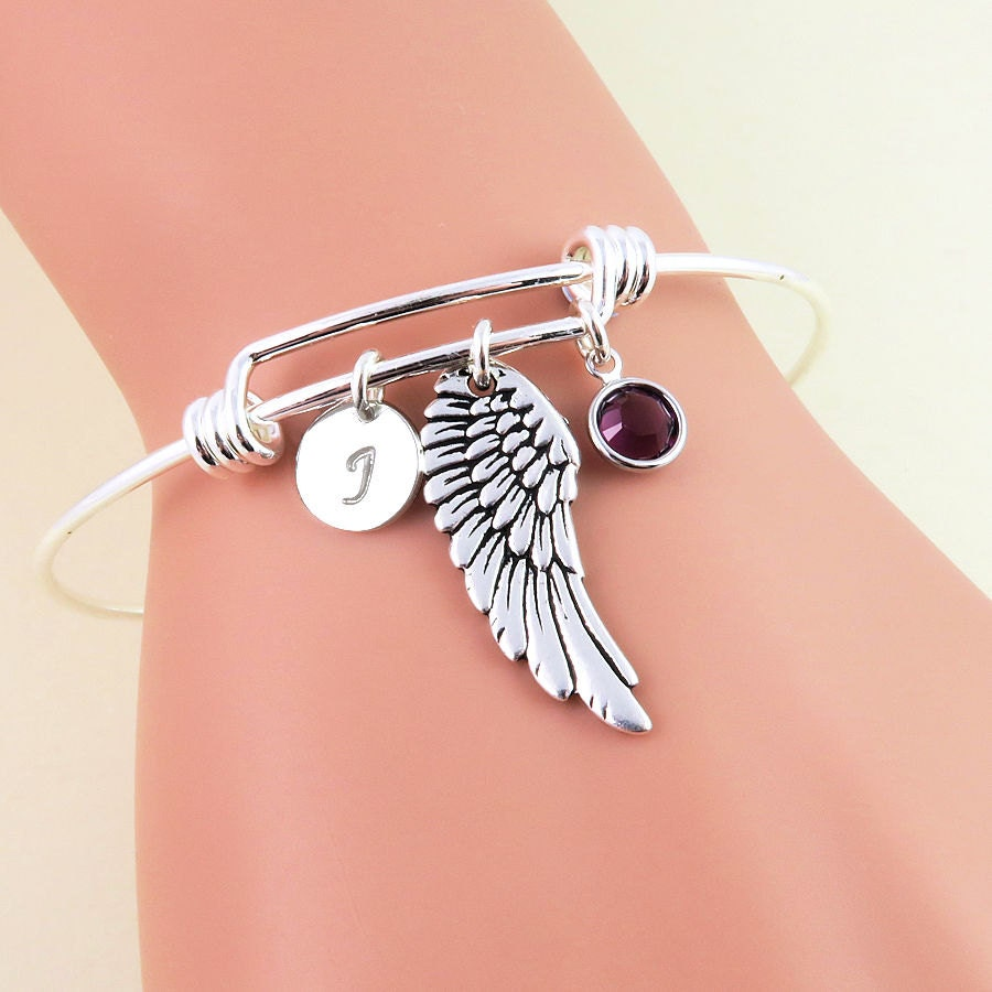 Silver Angel Wing Bangle Bracelet Personalized Bangles Angel Wing Jewelry Personalized Wing Bracelet Initial Birthstone Jewelry