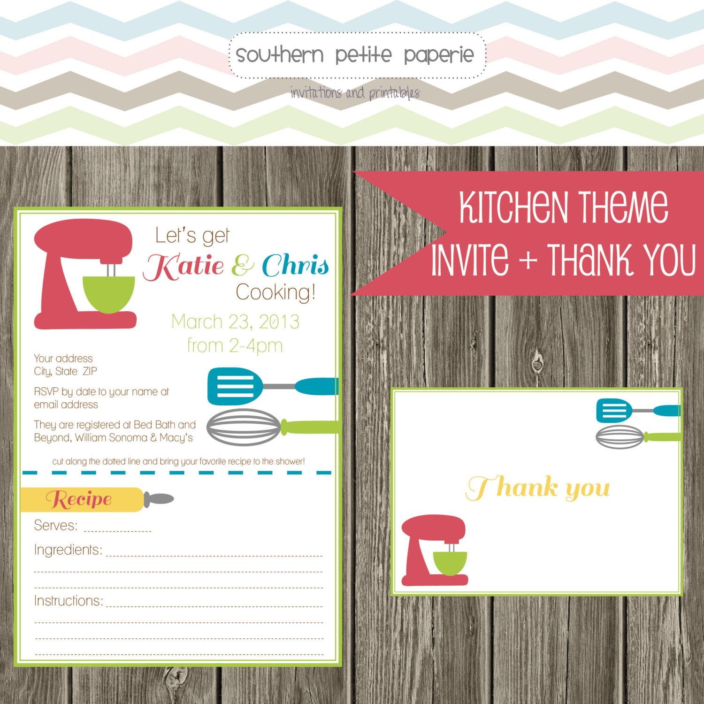 Printable Kitchen Theme Bridal Shower Invitation By Southernpetite