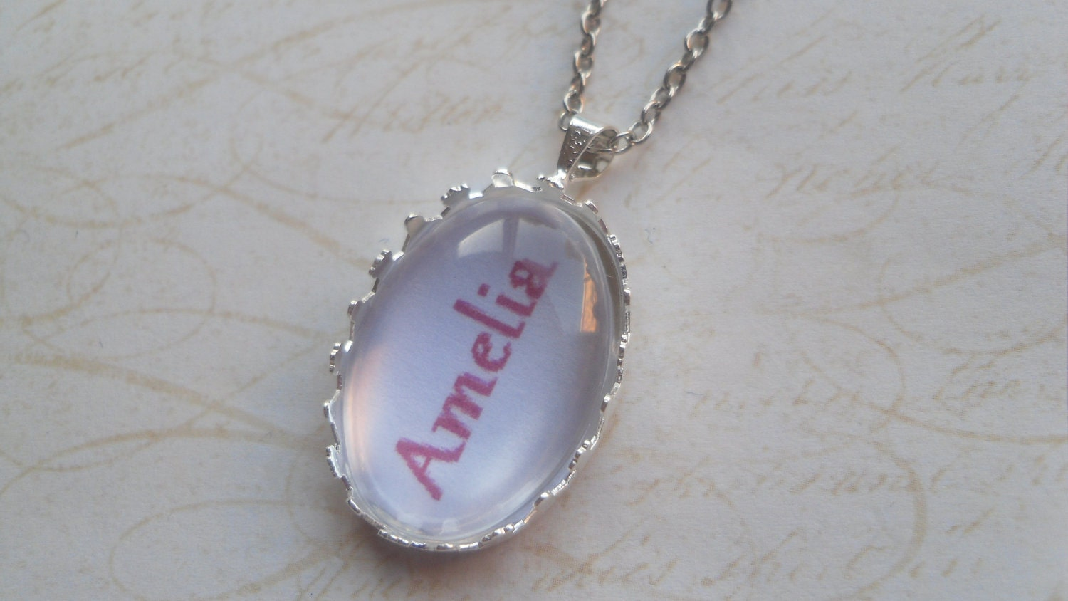 Custom Fuschia Pink Personalised Name Necklace, Gift, CHOOSE NAME