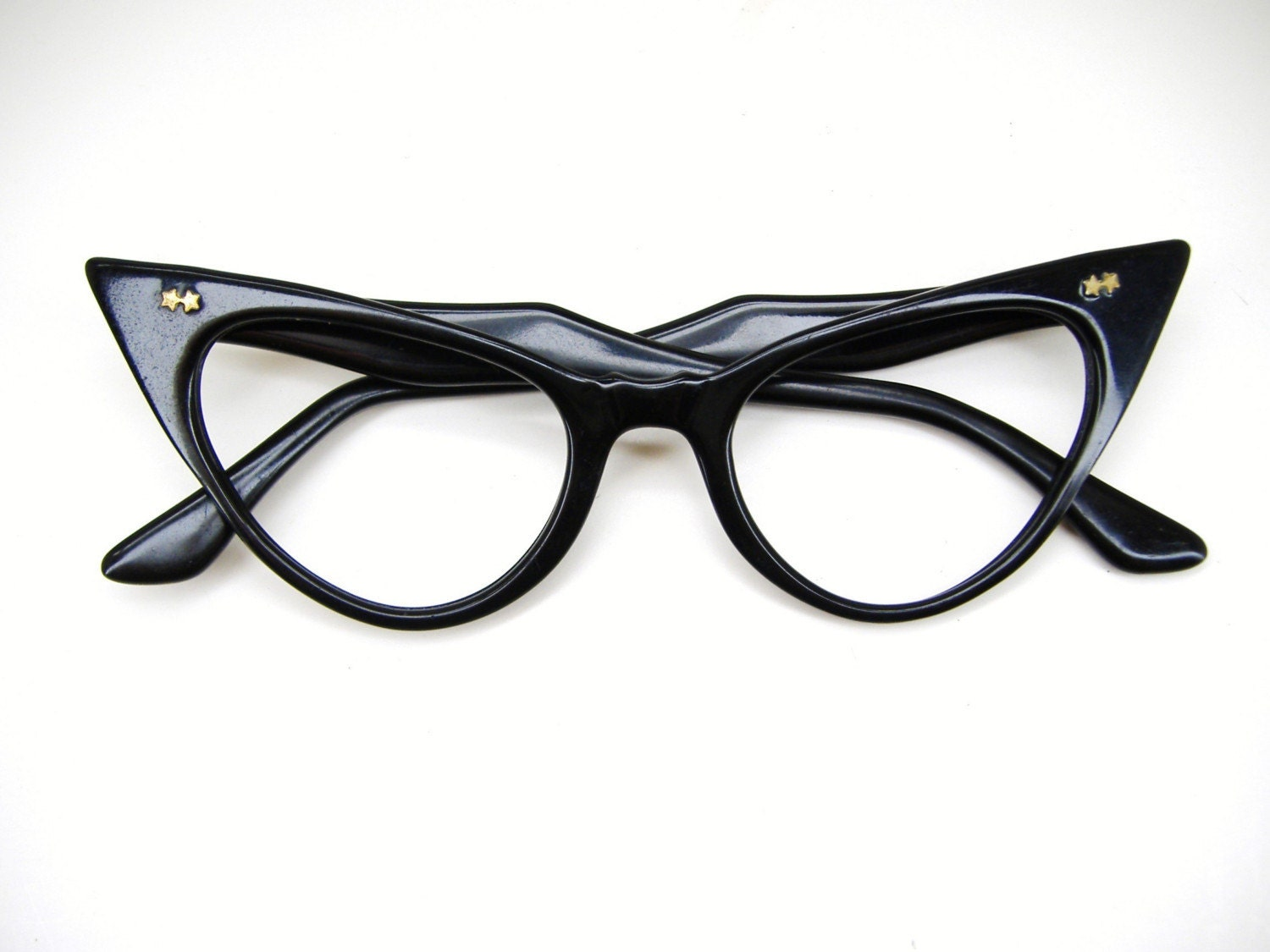 Cat Eyeglass Frames : RESERVED Wicked Black Cat Eye Eyeglasses by Vintage50sEyewear