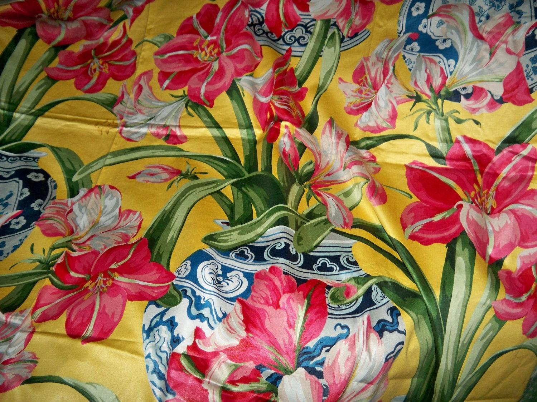 Polished Cotton Drapery Fabric Amaryllis By Makeitsewperfect