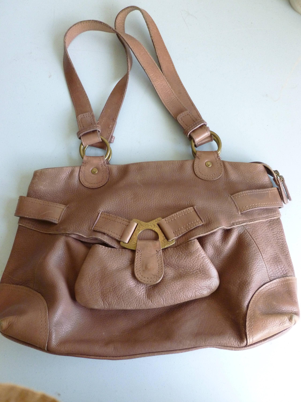 Vintage Brown Leather Hidesign Bag  Part of the Radley Group  Tan Leather Tote Bag  Vintage Leather Shoulder Bag  Large tote bag  Brass