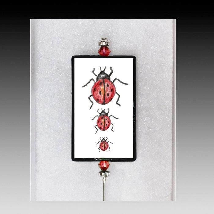 Magnetic Ladybug Cake Tester or Garden Stake - ArtistEmilyTerrell