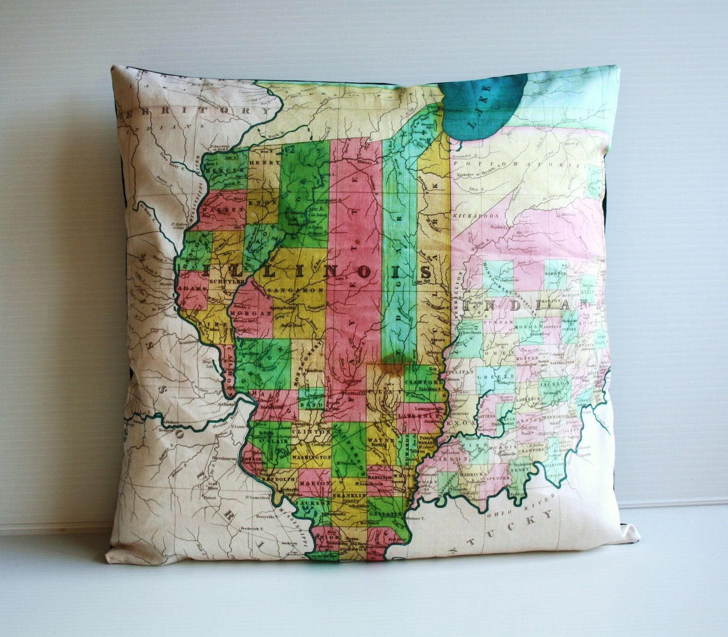 Decorative Pillows With States : Decorative pillow for couch state map ILLINOIS by mybeardedpigeon