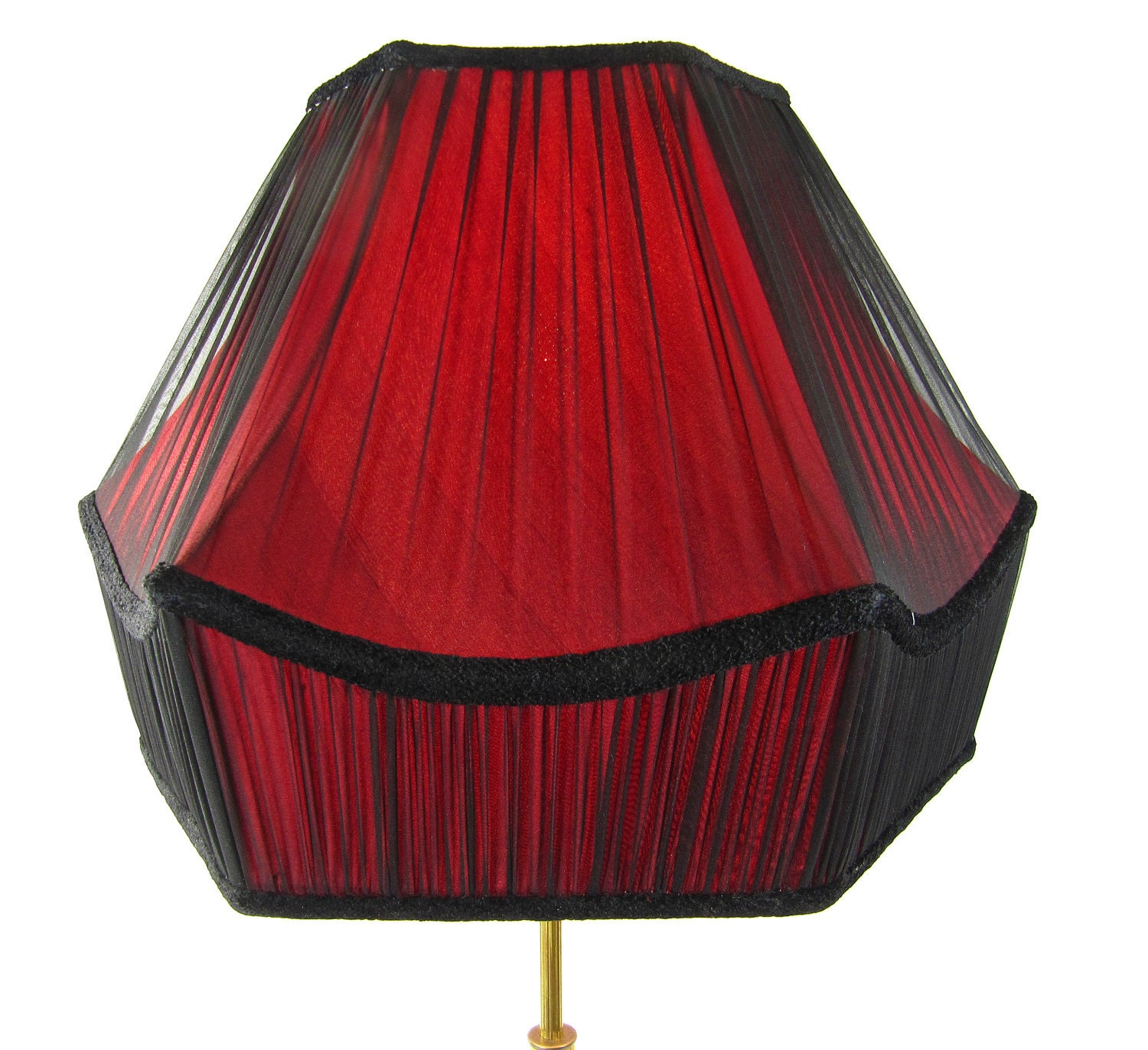 Lamp Shade Hand Made Pleated Black Silk Chiffon Over By