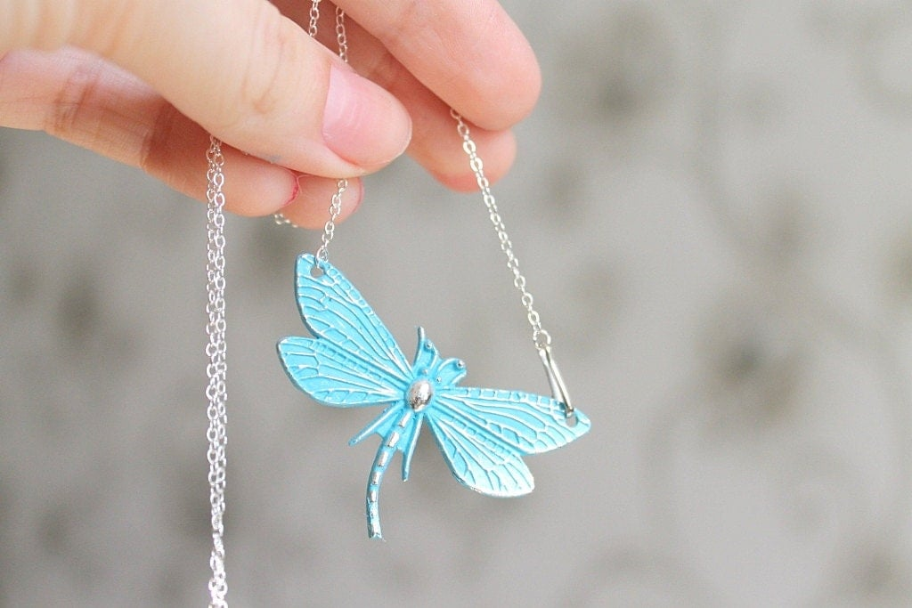 Vintage patina dragonfly turquoise necklace - Spring trends: vintage inspired and rustic jewelry - visska