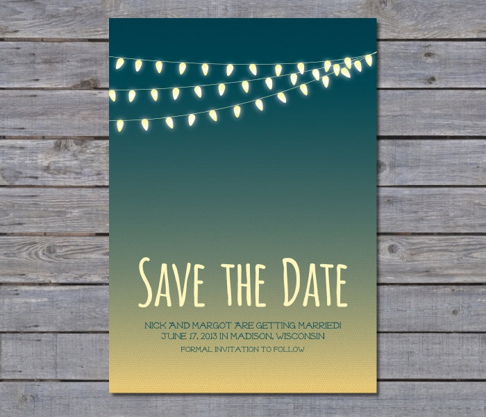 String Lights Save The Date : Outdoor String Lights Summer Inspired Save the Date by CandyPaper