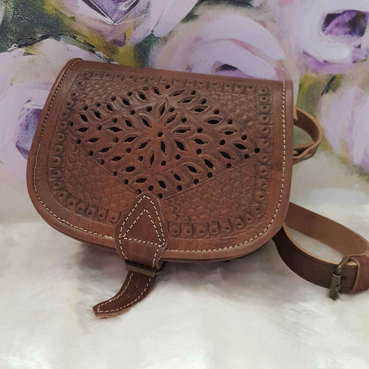 Moroccan Handmade crossbody messenger brown leather bag